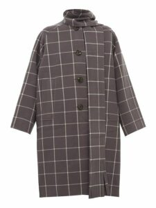Marc Jacobs - Oversized Windowpane Check Scarf Neck Wool Coat - Womens - Grey