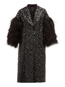 Andrew Gn - Feather Trim Sequinned Cotton Blend Opera Coat - Womens - Black