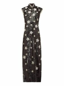Andrew Gn - Beaded-star Sequinned Silk-blend Gown - Womens - Black Silver