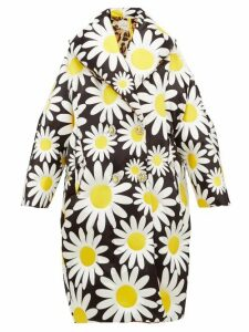 0 Moncler Genius Richard Quinn - Daisy-print Down-filled Coat - Womens - Black Multi