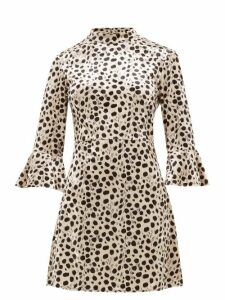 Hvn - Mini Ashley Leopard Print Velvet Dress - Womens - Leopard