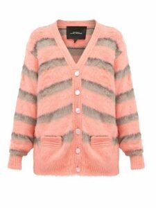 Marc Jacobs - Striped Silk Cardigan - Womens - Pink Multi