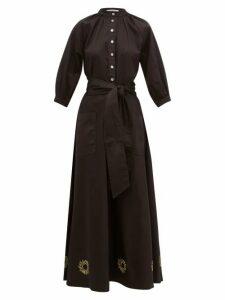 Àcheval Pampa - Argentina Sun Embroidered Cotton Blend Dress - Womens - Black