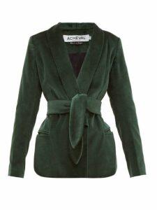Àcheval Pampa - Tero Cotton Velvet Blazer - Womens - Green