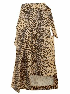 Jacquemus - Thika Leopard Print Cotton Midi Skirt - Womens - Leopard