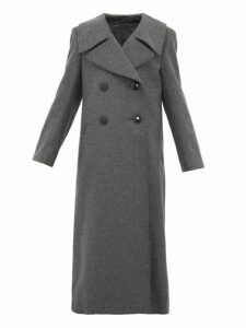 Lemaire - Double Breasted Wool Blend Coat - Womens - Dark Grey