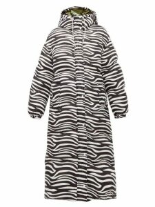 0 Moncler Genius Richard Quinn - Zebra Print Down Filled Hooded Coat - Womens - Black White