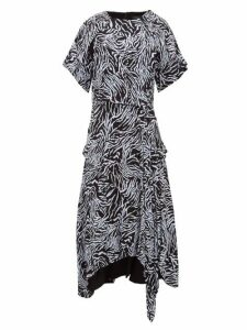 Proenza Schouler - Asymmetric Zebra Print Crepe Dress - Womens - Blue Multi