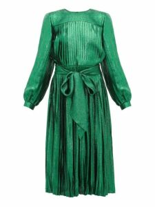 Marc Jacobs - Pleated Silk Blend Lamé Dress - Womens - Green