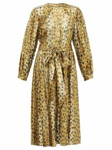 Marc Jacobs - Pleated Leopard Print Silk Blend Lamé Midi Dress - Womens - Leopard