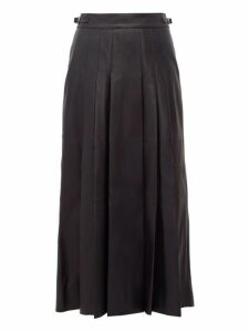 Gabriela Hearst - Wesley Pleated Leather Midi Skirt - Womens - Navy