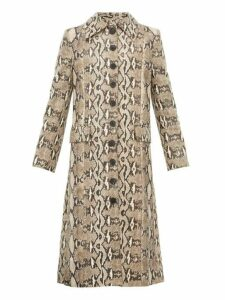 Givenchy - Single Breasted Python Effect Leather Coat - Womens - Beige Print