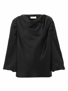 Lemaire - Cowl Neck Satin Blouse - Womens - Black