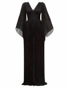Maria Lucia Hohan - Catalina Plissé Silk Tulle Maxi Dress - Womens - Black