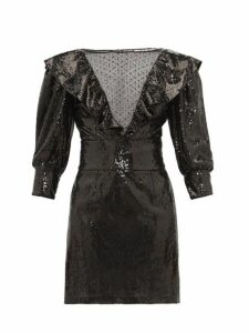 Dundas - Mesh Insert Sequinned Dress - Womens - Black