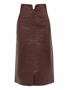 Sea - Lidia Zipped Leather Midi Skirt - Womens - Burgundy