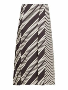 Joseph - Carey Diagonal Stripe Silk Twill Midi Skirt - Womens - Black White