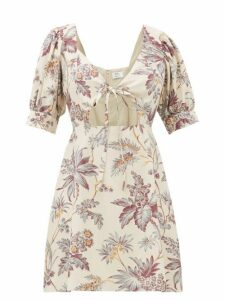 Sir - Avery Tie Front Floral Print Silk Mini Dress - Womens - Multi