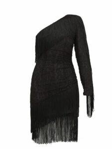 Dundas - Fringed One Shoulder Cotton Blend Lace Mini Dress - Womens - Black