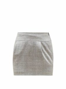 Alexandre Vauthier - Prince Of Wales Check Wool Blend Skirt - Womens - Grey Multi