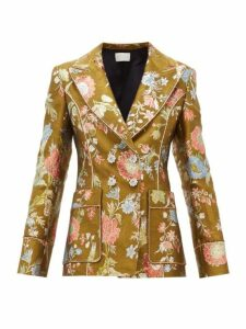 Peter Pilotto - Double Breasted Floral Brocade Blazer - Womens - Green Multi