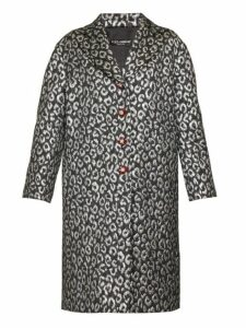Dolce & Gabbana - Crystal Button Leopard Jacquard Cocoon Coat - Womens - Silver Multi