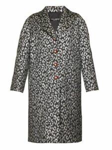 Dolce & Gabbana - Crystal-button Leopard-jacquard Cocoon Coat - Womens - Silver Multi