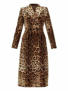 Dolce & Gabbana - Double Breasted Leopard Print Velvet Coat - Womens - Leopard