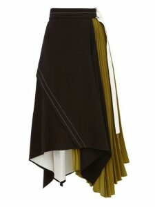 Proenza Schouler - Pleated Leather-trim Matte-crepe Skirt - Womens - Black Green