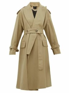 Proenza Schouler - Detachable Lapel Wool Blend Trench Coat - Womens - Beige