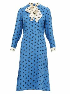 Hvn - Elisa Cherry Print Silk Satin Midi Dress - Womens - Blue
