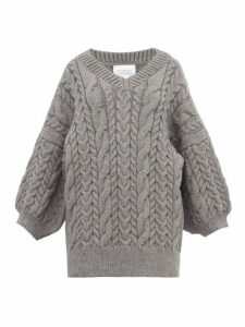 I Love Mr Mittens - Cable Knit Wool Sweater - Womens - Dark Grey