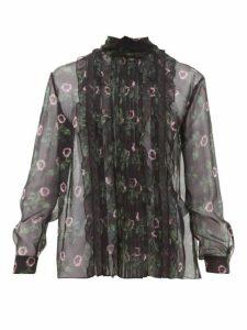 Valentino - Lip Floral-print Pleated Silk-chiffon Blouse - Womens - Black Multi