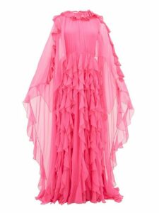 Valentino - Ruffle Collar Cape Sleeve Silk Chiffon Gown - Womens - Pink