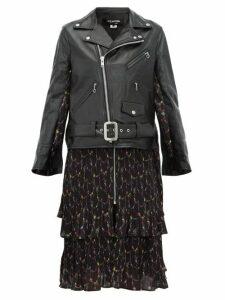 Junya Watanabe - Dress Panel Leather Biker Jacket - Womens - Black Multi