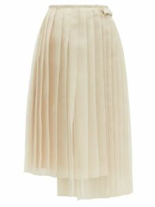 Fendi - Buckled Asymmetric Pleated Silk Organza Skirt - Womens - Beige