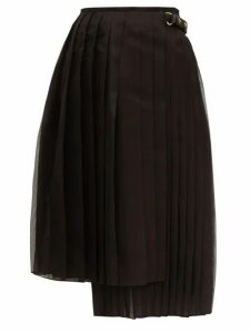 Fendi - Pleated Silk Organza Midi Skirt - Womens - Black