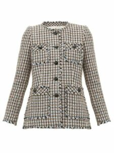 Rebecca Taylor - Houndstooth Tweed Cotton Blend Jacket - Womens - Pink Multi
