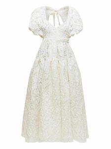 Cecilie Bahnsen - Theodora Tie Back Floral Fil Coupé Organza Dress - Womens - Ivory