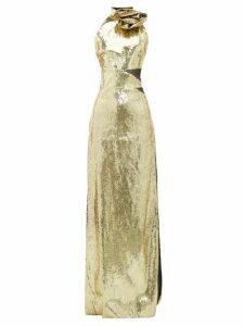 Dundas - Rosette High-neck Sequinned Dress - Womens - Gold