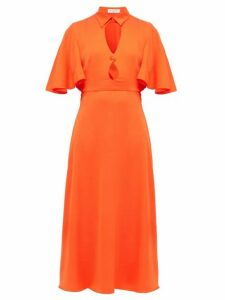 Françoise - Cut Out Cape Back Satin Dress - Womens - Orange