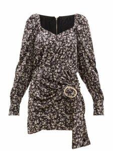 Dodo Bar Or - Madonna Floral Print Velvet Mini Dress - Womens - Black White