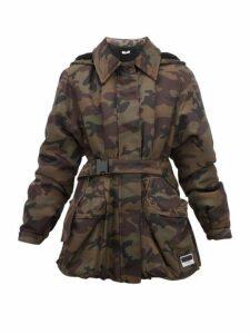 Miu Miu - Panama Camouflage Shearling Lined Padded Jacket - Womens - Green Multi