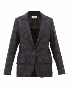 Isabel Marant Étoile - Charly Single Breasted Checked Wool Blazer - Womens - Navy
