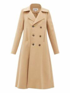 Loewe - Double Breasted Wool Blend Swing Coat - Womens - Camel