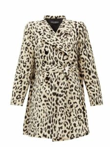 Dolce & Gabbana - Double Breasted Leopard Print Faux Fur Coat - Womens - Leopard