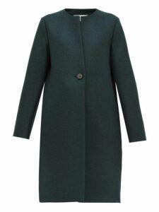 Harris Wharf London - Round Neck Pressed Virgin Wool Felt Coat - Womens - Dark Green