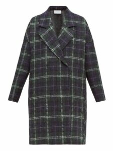 Harris Wharf London - Tartan Check Pressed Virgin Wool Felt Coat - Womens - Green Multi
