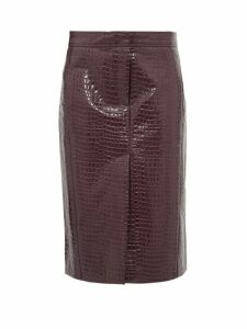 Tibi - Crocodile Effect Patent Midi Skirt - Womens - Burgundy