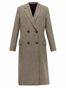 Fendi - Double-breasted Bow-back Houndstooth Wool Coat - Womens - Grey Multi